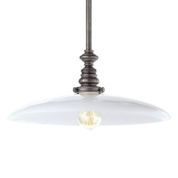 Boston Large White Dish Pendant