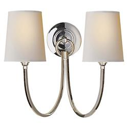 Reed Double Wall Sconce (Polished Nickel) - OPEN BOX RETURN