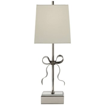 Shown in Polished Nickel with Cream Linen Shade