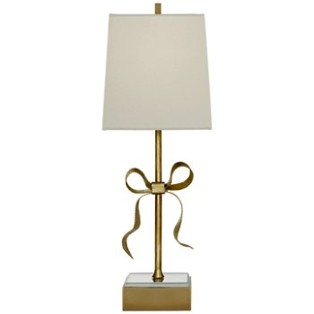 Shown in Soft Brass with Cream Linen Shade