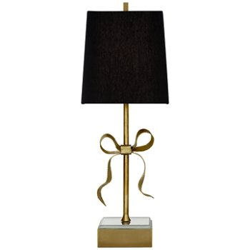 Shown in Soft Brass with Black Linen Shade