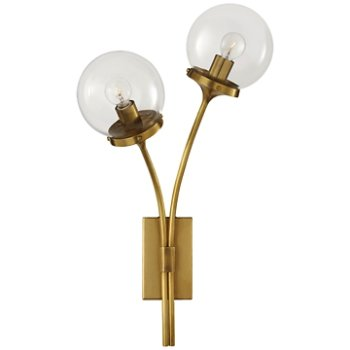 Shown in Clear shade, Soft Brass finish, Left Option