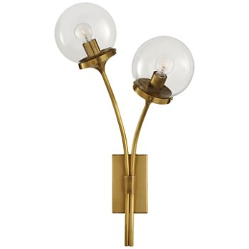 Shown in Clear shade, Soft Brass finish, Right Option