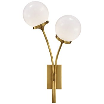 Shown in White shade, Soft Brass finish, Right Option