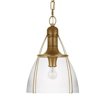 Shown in Clear Glass color, Antique Burnished Brass finish, Medium size