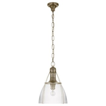 Shown in Clear Glass color, Antique Nickel finish, Medium size