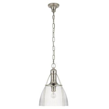 Shown in Clear Glass color, Polished Nickel finish, Medium size
