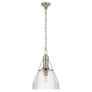 Shown in Clear Glass color, Polished Nickel finish, Large size