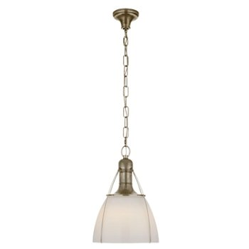 Shown in White Glass color, Antique Nickel finish, Medium size