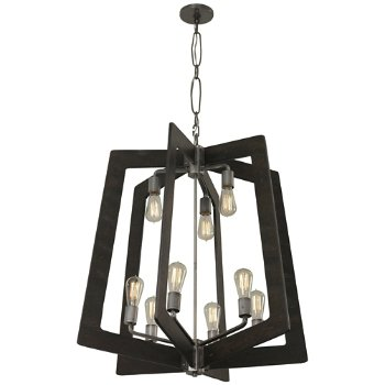 Shown in Steel with Zebrawood finish, 9 Light