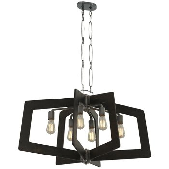 Shown in Steel with Zebrawood finish, 6 Light