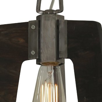 Shown in Steel with Zebrawood finish, lit, Detail view