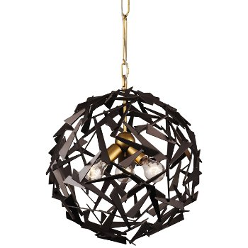 Shown in Antique Gold/Rustic Bronze finish, 3 Lights, lit