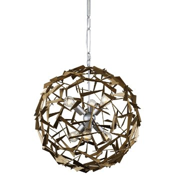 Shown in Silver/Champagne Mist finish, 6 Lights, lit