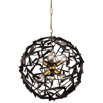 Shown in Antique Gold/Rustic Bronze finish, 6 Lights, lit