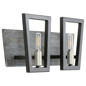 Shown in Black Grey Wood finish, 2 Light