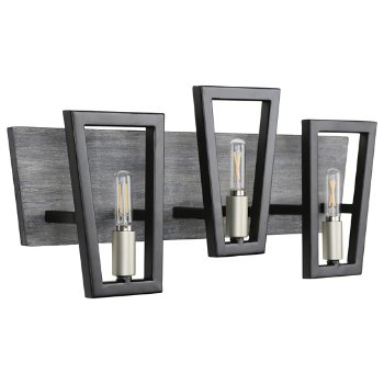 Shown in Black Grey Wood finish, 3 Light