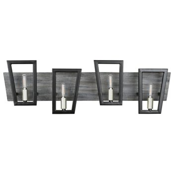 Shown in Black Grey Wood finish, 4 Light
