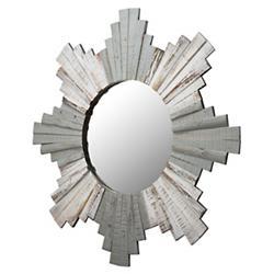 Sunburst Framed Beveled Wood Mirror
