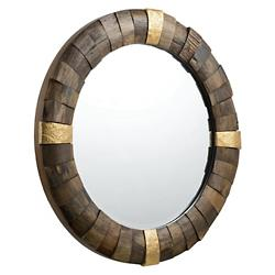 True North Round Reclaimed Wood with Gold Accents Mirror