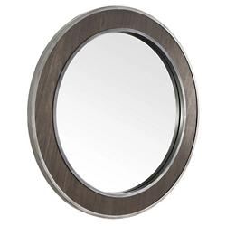 Macie Round Wood and Metal Mirror