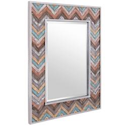 Jemma Waxed Colorful Chevron Wood Rectangular Mirror