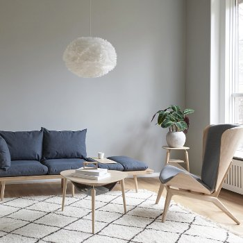 Reader Lounge Chair, Lounge Around 3-Seat Platform Sofa, Hang Out Coffee Table, My Spot Side Table and Eos X-Large Pendant Light