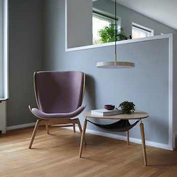Reader Lounge Chair, Hang Out Coffee Table and Asteria LED Pendant Light