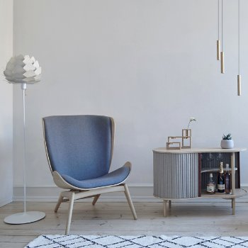 Reader Lounge Chair, Aluvia Floor Lamp, Compose Candleholder Set and Audacious Cabinet
