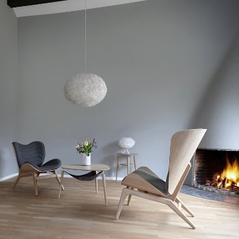 Hang Out Coffee Table, Eos X-Large Pendant Light, Eos Micro Table Lamp, Reader Lounge Chair, A Conversation Piece Lounge Chair and My Spot Side Table