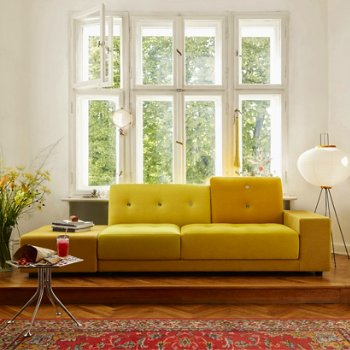 Shown in Golden Yellow fabric, Armrest Right/Sitting Left