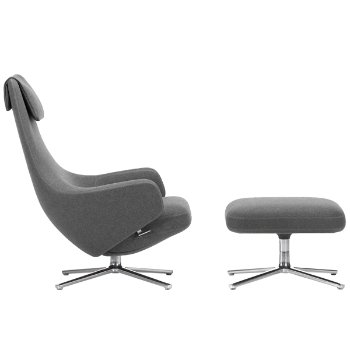 Shown in Cosy 2 (Cross Stitch) Classic Grey fabric, Polished Aluminum base finish
