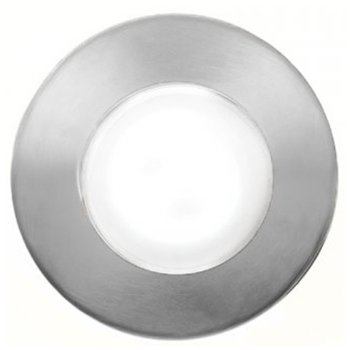 Top view in Stainless Steel finish, Round with Standard Lens