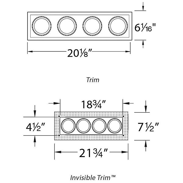 Precision Multiples 4 1x4 Trim By Wac Lighting At Lumens Com