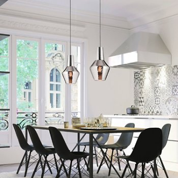 Shown in Metallic Silver, pair in use over dining room table