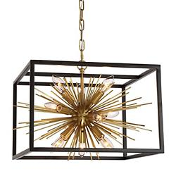Burst Chandelier (Aged Brass w/ Matte Black)-OPEN BOX RETURN