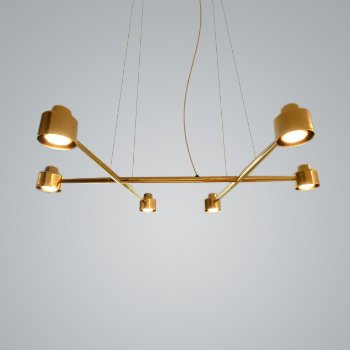 Shown in Brass finish, 6 Light