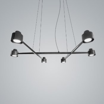 Shown in Black Chrome finish, 6 Light