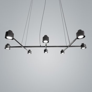 Shown in Black Chrome finish, 8 Light