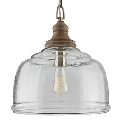 Wood and Glass Bell Pendant