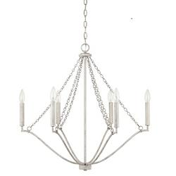 White Washed 6-Light Chandelier