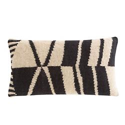 Rustic Chic Geo Lumbar Pillow, Black and White