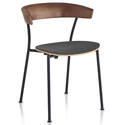 Leeway Stackable Metal Side Chair with Upholstered Seat