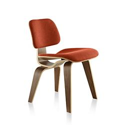 Eames Molded Plywood Dining Chair with Wood Legs, Upholstered