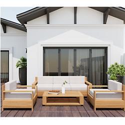 Qube 4-Piece Teak Deep Seating Outdoor Sofa Set