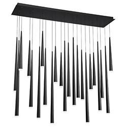 Cascade Etched Glass Rectangular Multi-Light Pendant