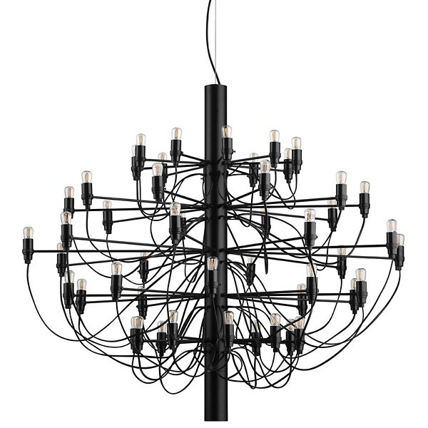 black chandelier with fifth bulbs designed by Gino Sarfatti in 1958