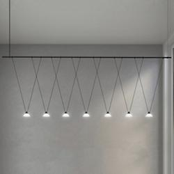 Suspenders 8-Foot Linear 1-Tier V-Line Etched Glass Cone Pendants