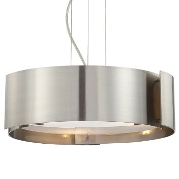 Shown in Satin Nickel with Frosted White Glass shade