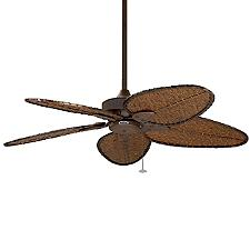 Windpointe Five Blade Ceiling Fan - Body Finish: Antique Brass - Blade Color: Natural